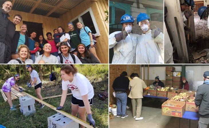 Students working in communities