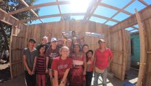 Transy students posing at a construction site