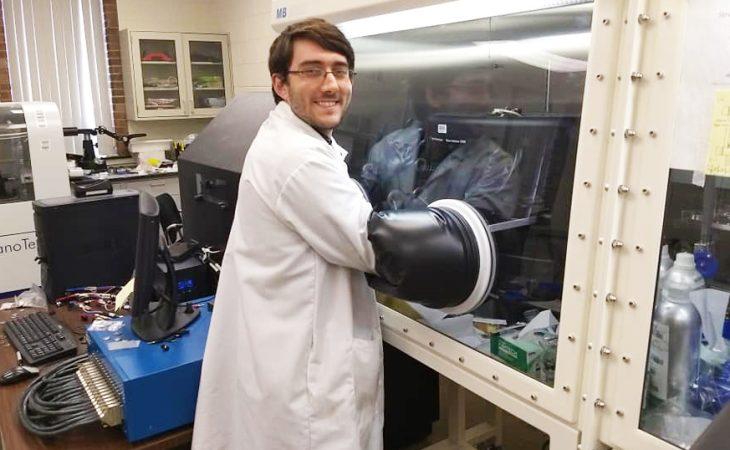 Meyer using chemistry glove box