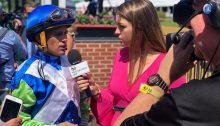 Ashley Mailloux interviewing a jockey