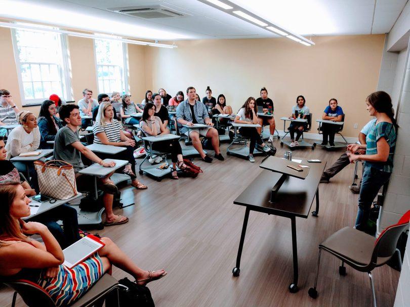 Returned Peace Corps volunteer Tara Loyd talks about her experiences with Transylvania students last fall.