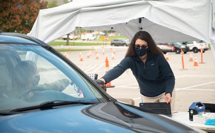 gray during drive-thru testing