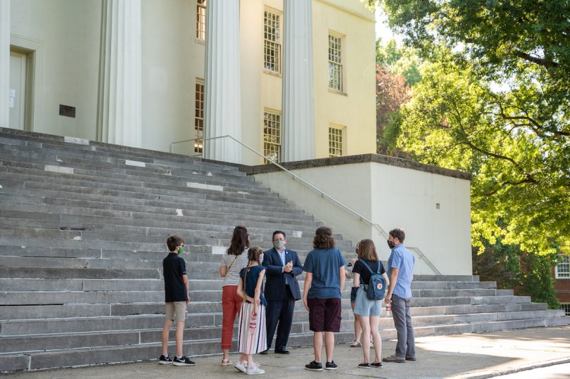 President Brien Lewis giving tour to prospective students