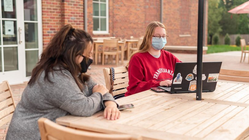 Students studying outdoors.