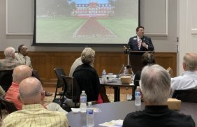 Transylvania President Brien Lewis was the featured speaker at the Rotary Club of Lexington on July 22. The lunch meeting was held in the new William T. Young Campus Center in downtown Lexington.