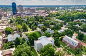 An aerial photo of the Transylvania University campus in downtown Lexington