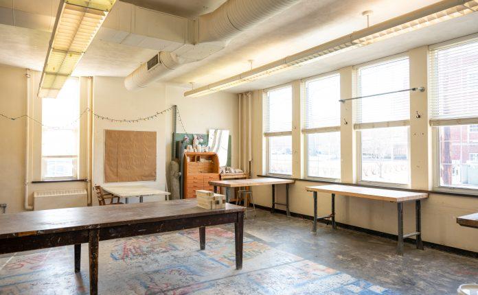 Art studio with energy efficient lighting