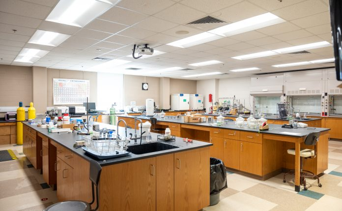 science lab classroom with new energy efficient lighting
