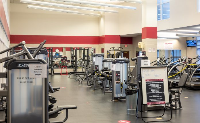 efficient lighting in Beck workout gym