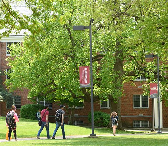 Transy students walk across campus between classes