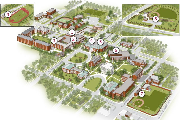 campus map showing locations of 10 Automated External Defibrilators (listed below)
