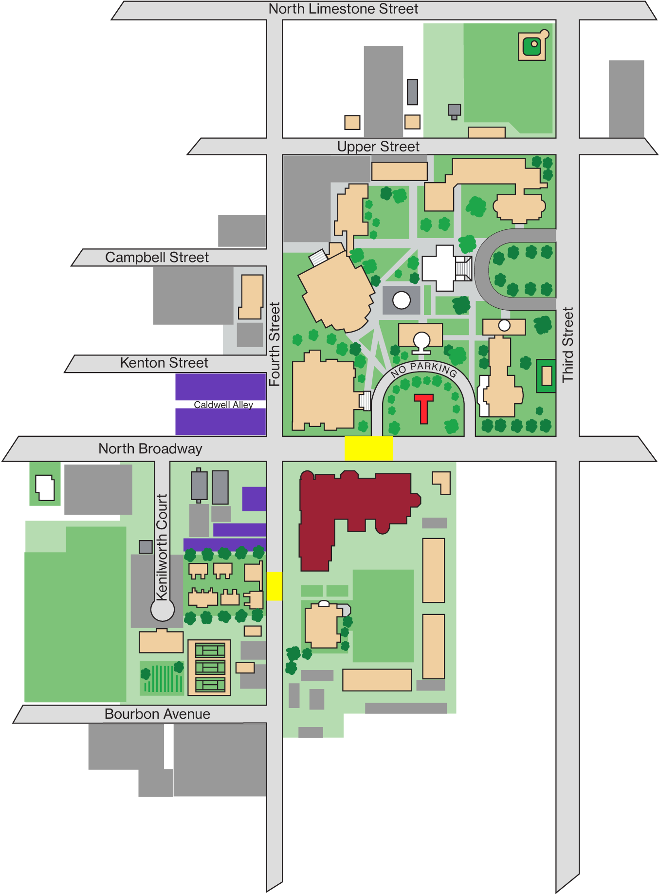 Map showing location of campus center plus adjacent parking and crosswalks