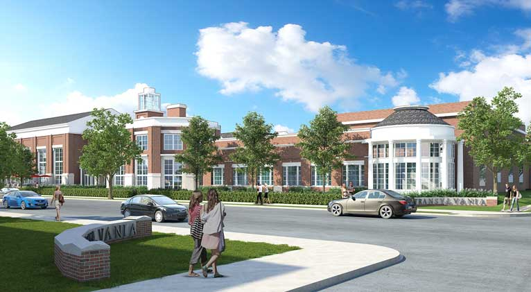 exterior rendering of new campus center from Broadway