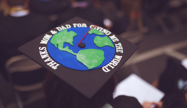 Decorated graduation cap with thank you message for parents