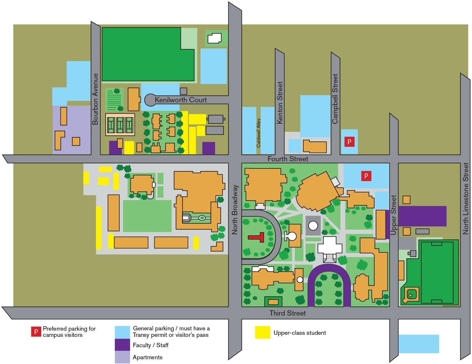 Transylvania University Campus Map.Campus Map Transylvania University Lexington Kentucky