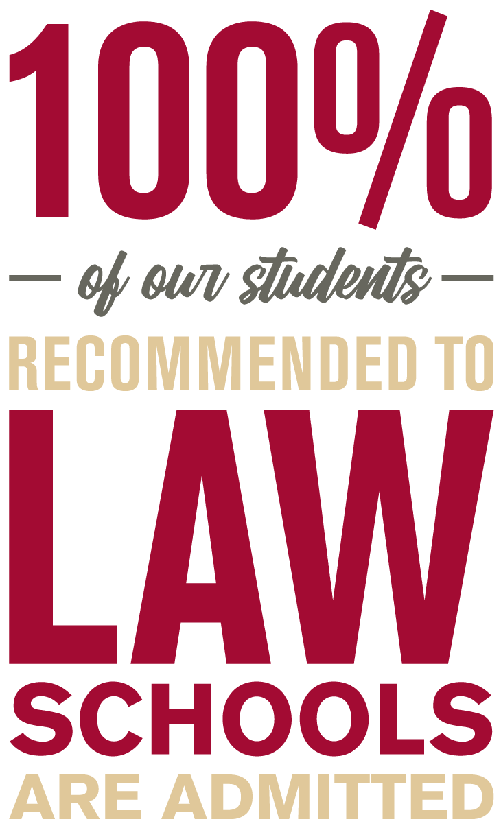 100% of our students recommended to law schools are admitted