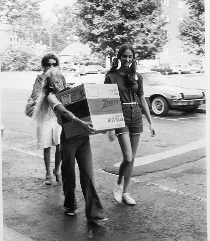 Vintage Photo of students moving in