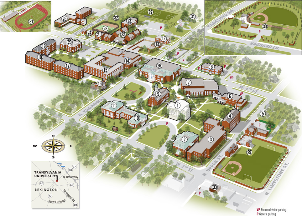 numbered campus map. Key below.