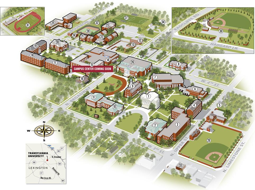 University Of Kentucky Campus Map Campus Map | Transylvania University | Lexington, Kentucky