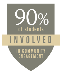 90% of students involved in community engagement