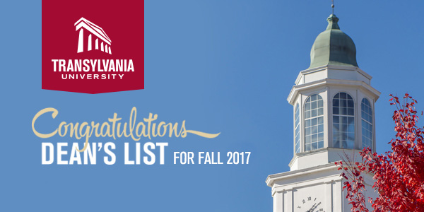 Congratulations - Dean's list for Fall 2017