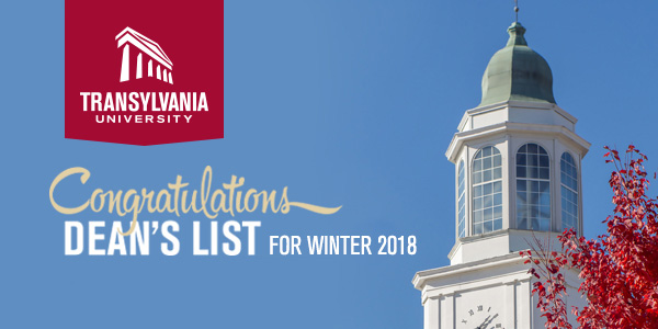 Congratulations - Dean's list for Winter 2018