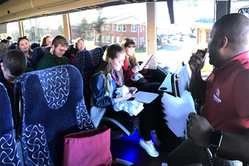 students on a bus tour