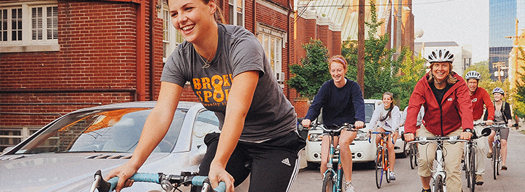Students on bicycle