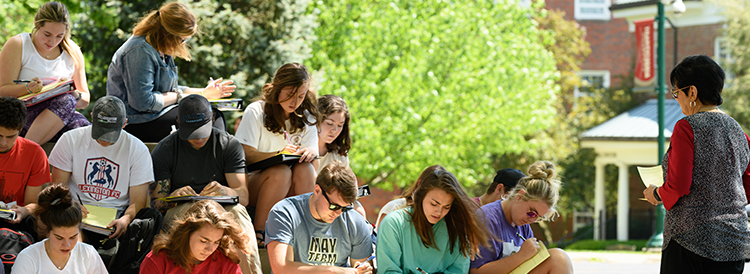 Students outdoors on campus