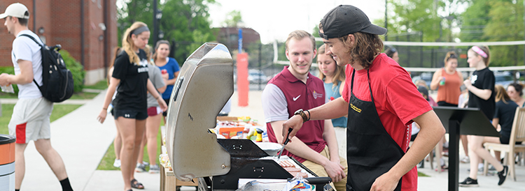 Student Grilling on campus