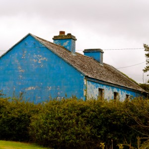 A house painted blue