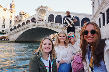 students on a gondola