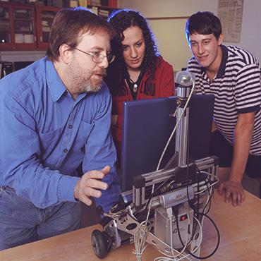 Professer Moorman with students