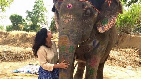 Selena with an Elephant