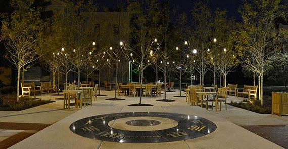 Alumni Plaza at night