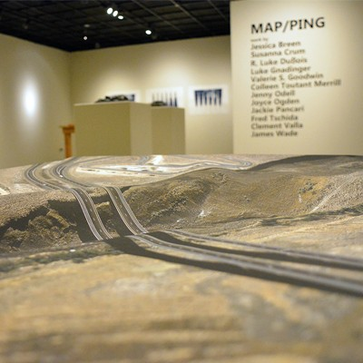 Photo of MAP/PING exhibit in Morlan Gallery