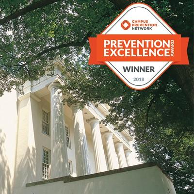 Prevention Excellence Award logo and Transylvania's administration building