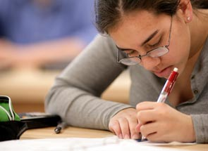 Student working in the writing center